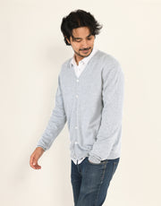 Classic Men's Cardigan in Platinum