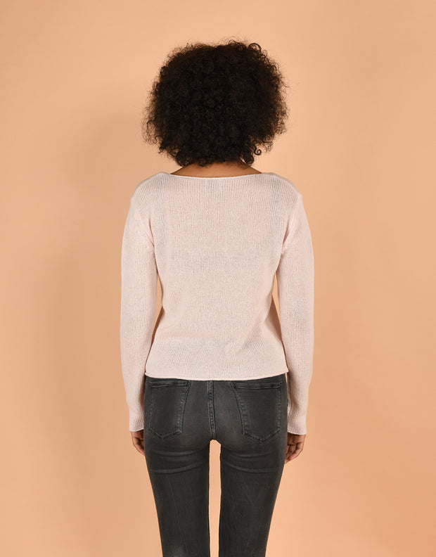 Crew Neck Sweater in Powder