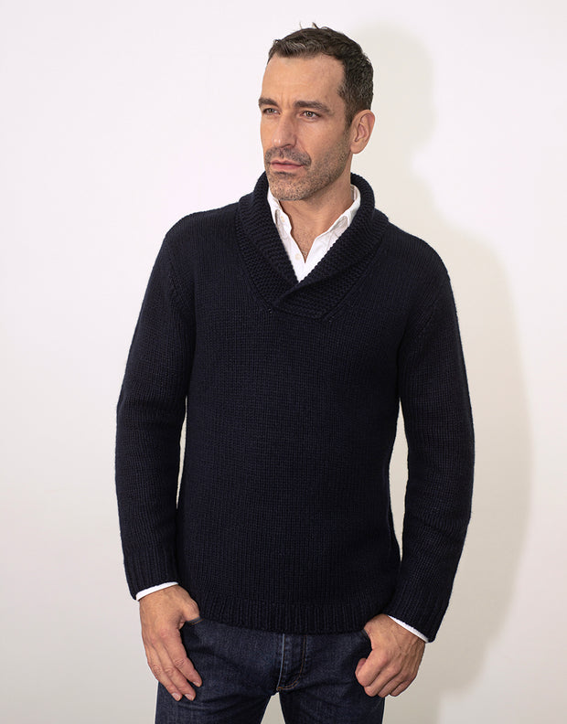 Fisherman's Jumper in Nero Navy