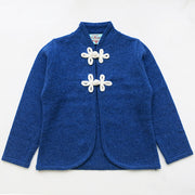 Girls Cardigan with Chinese Knots in Nautica