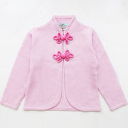 Girls Cardigan with Chinese Knots in Rose