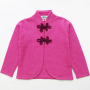 Girls Cardigan with Chinese Knots in Berry