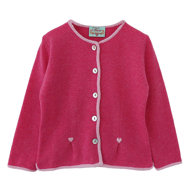 Girls Jacket with Hearts in Peony