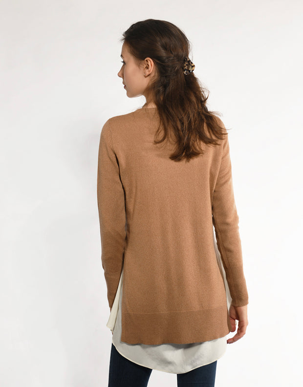 High Slit Pullover in Camel