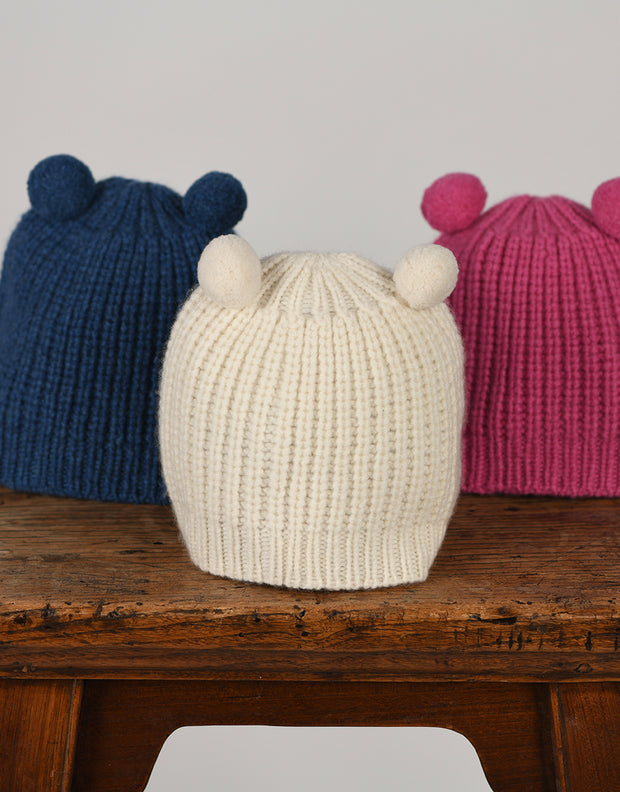 Little Cashmere Beanie with Pom Pom Ears