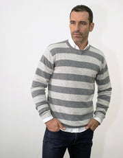Stripey Men's Round Neck Pullover in Derby