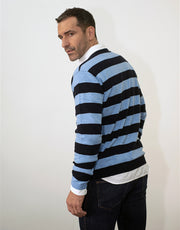 Stripey Men's Round Neck Pullover in Nero