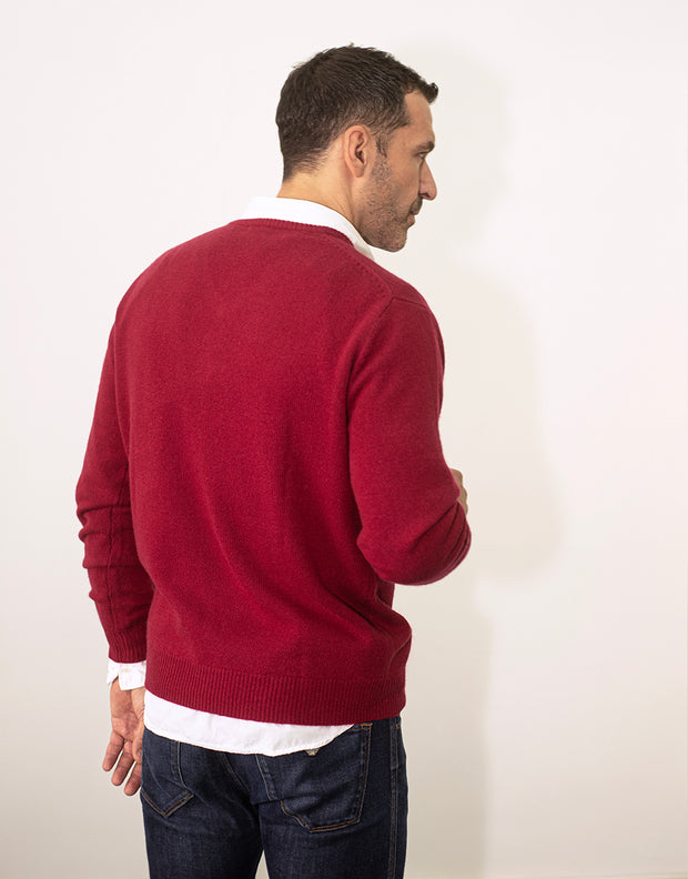 Mens V Neck 4-Ply Pullover in Claret Red