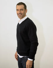 Mens V Neck Pullover in Nero Navy