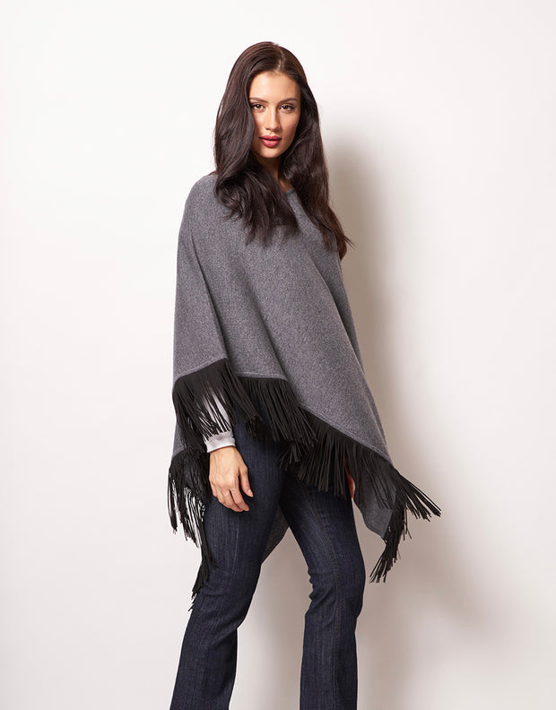 Slanted Poncho with Leather Tassels in Thunder