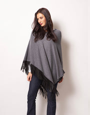 Slanted Poncho with Leather Tassels