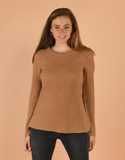 Round Neck Rib Sweater in Camel