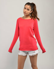 Silk Cashmere Jumper in Geranium