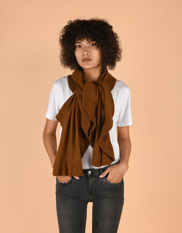 Ruffle Scarf in Curry