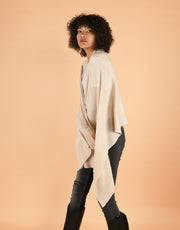 Soft Wide Rib Scarf in Cream