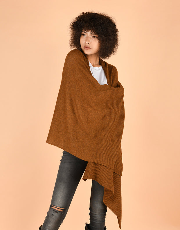 Soft Wide Rib Scarf in Curry