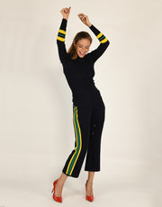 Wide Stripe Flared Pants in Sunflower