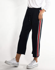 Wide Stripe Flared Pants in Ivory