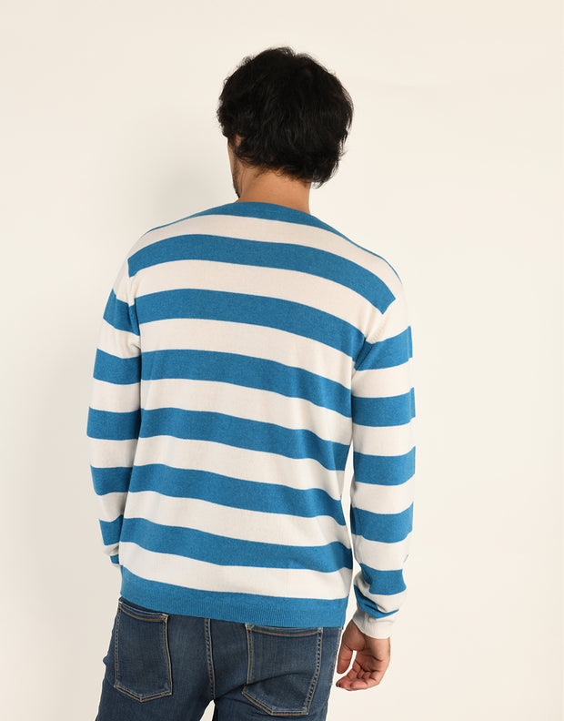 Stripey Men's Round Neck Pullover in Peacock