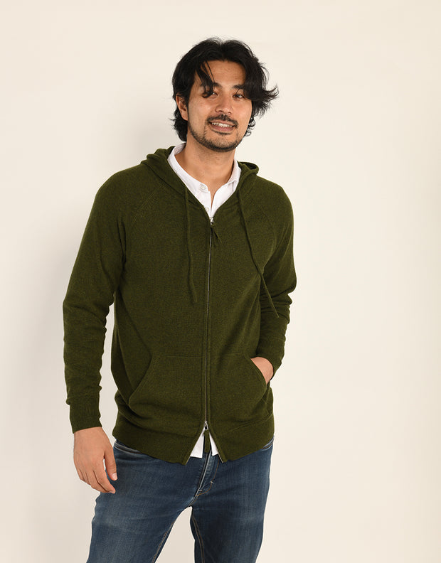 The Guy Hoodie in Moss Melange