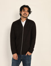 The Cashmere Hunter Jacket in Midnight Brown
