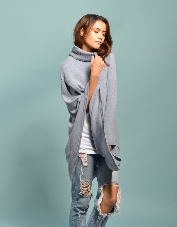 The Ribbed Cowl Poncho in Cloud