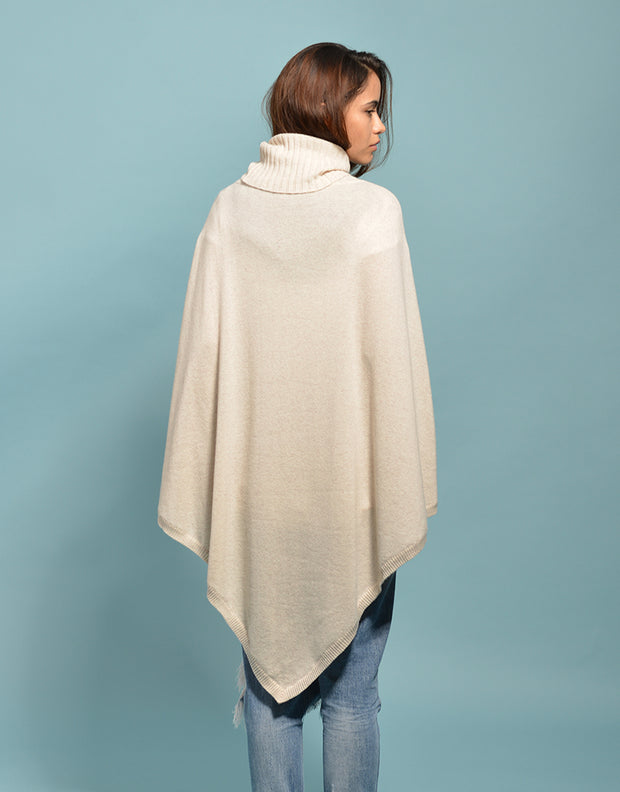 The Ribbed Cowl Poncho in Dune