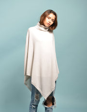 The Ribbed Cowl Poncho in Ice