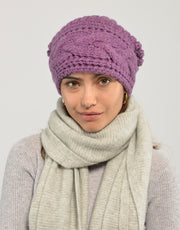Thick Cable Hem Beanie in Rosebud