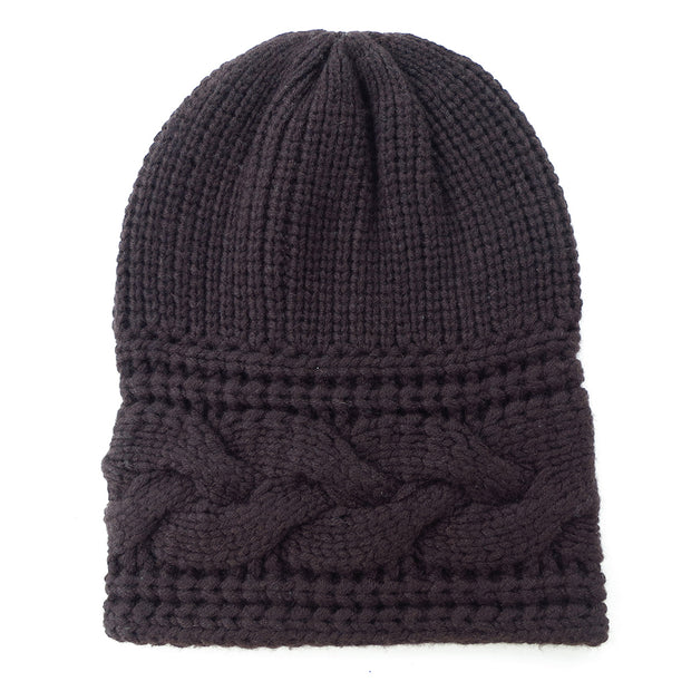 Thick Cable Hem Beanie in Tobbaco