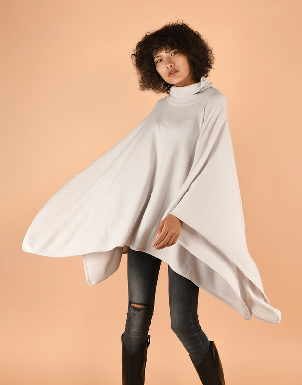 Turtleneck Poncho in Fog