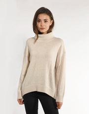 Cashmere Turtleneck Pullover with Curved Hem
