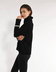 Thick Turtleneck with Fine Stripes in Black