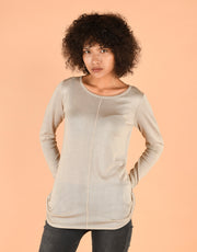Ultrafine Fitted Sweater in Beige