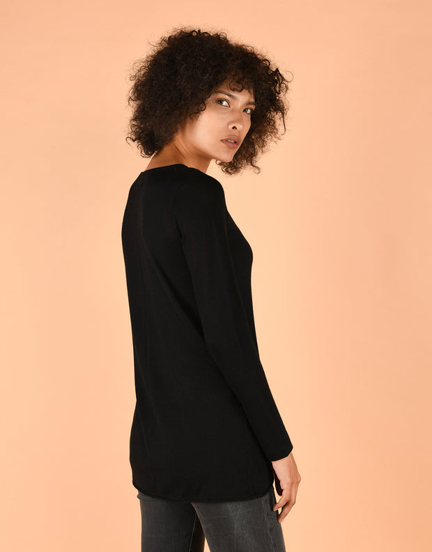 Ultrafine Fitted Sweater in Black