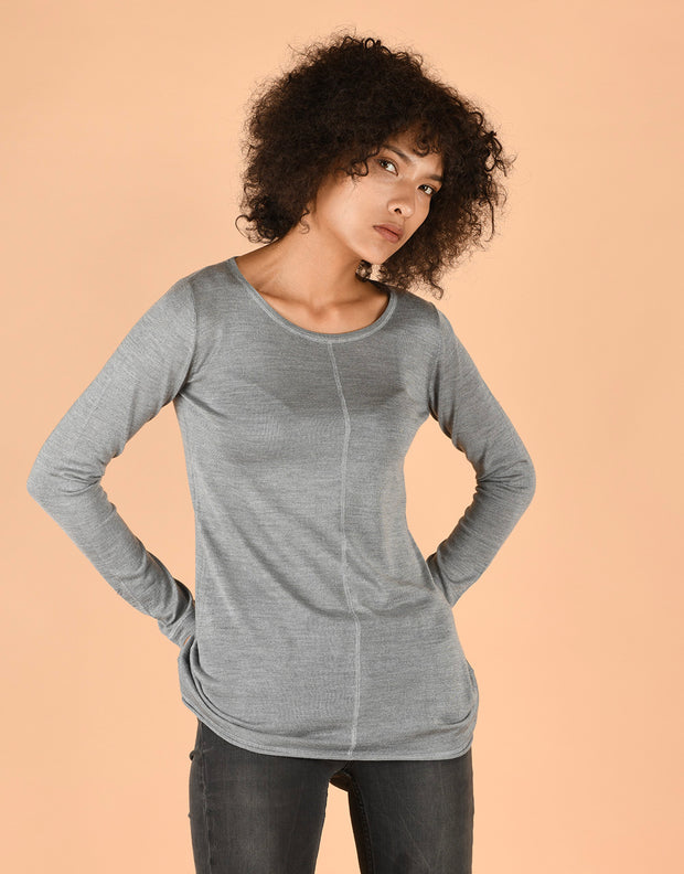 Ultrafine Fitted Sweater in Grey