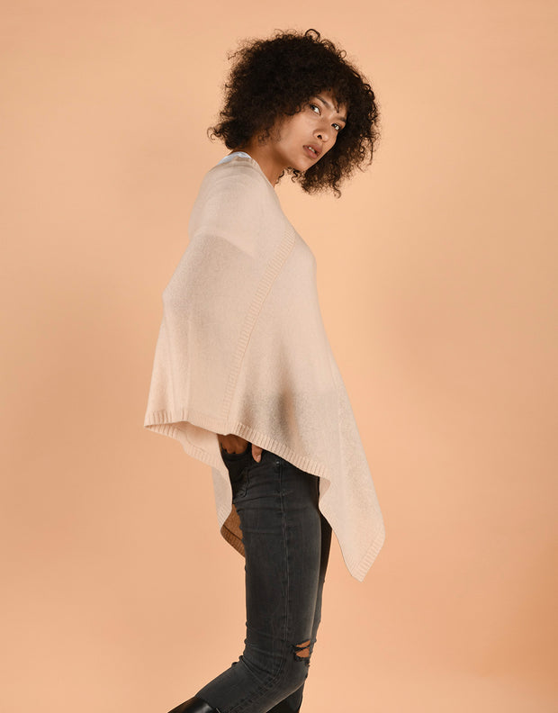 Ultra Soft Poncho in Pannacotta