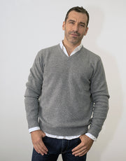 Mens V Neck Pullover in Grey Marl