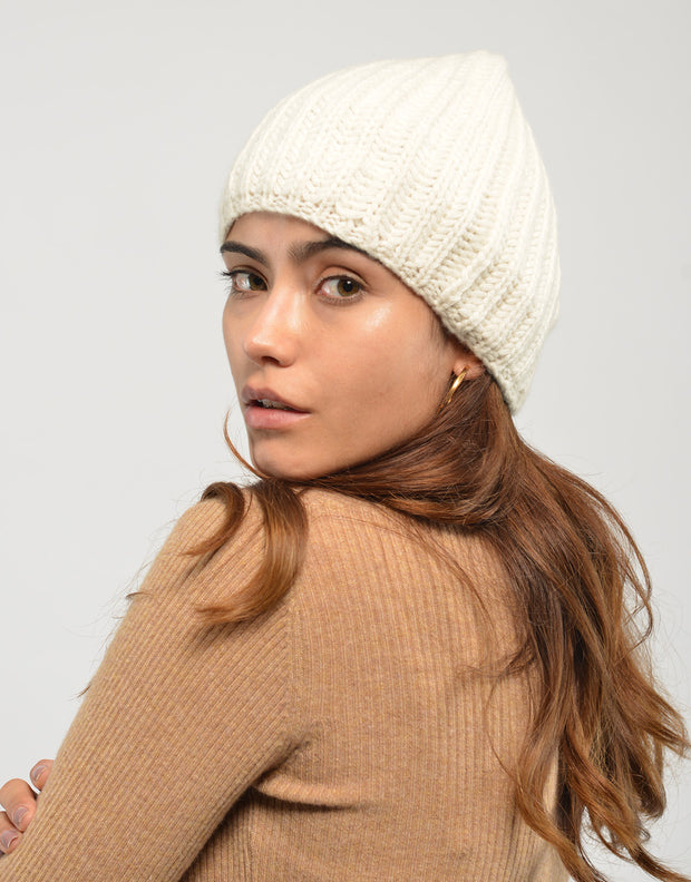Cashmere Winter Warmer Beanie in Ivory