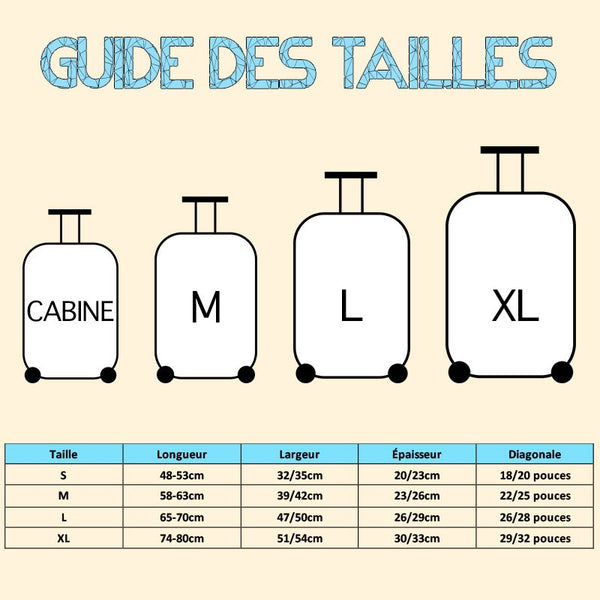 Guide des tailles housse valise flamants roses