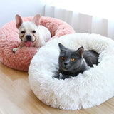Pink White Fluffy Round Marshmallow Calming Anti Anxiety Cat Dog Bed For Kitten And Puppies-My Purry Friends
