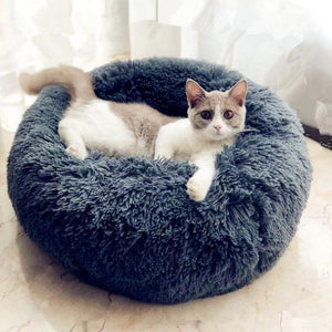 Cat In Dark Gray Fluffy Round Marshmallow Calming Anti Anxiety Cat Dog Bed For Kitten And Puppies-My Purry Friends