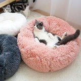 Fluffy Round Marshmallow Calming Anti Anxiety Pink Cat Dog Pet Bed For Kitten And Puppies-My Purry Friends