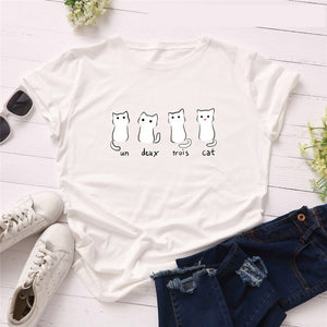 Un Deux Trois Cat T-Shirt - T-Shirts - My Purry Friends - Online shop for everything your cat wants.