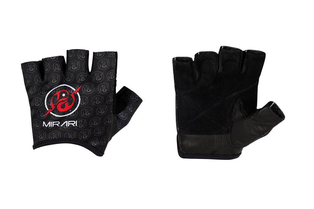 Fitness Gloves, Repeating Emblem; Black Leather US PATENT D892411