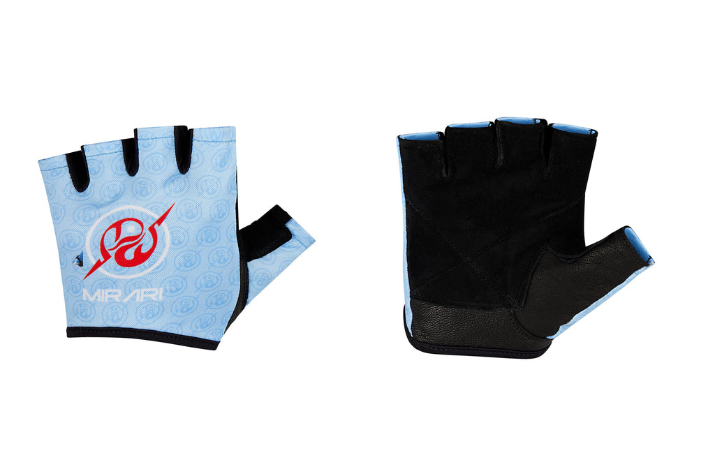 Fitness Gloves; Repeating Emblem; Baby Blue Leather