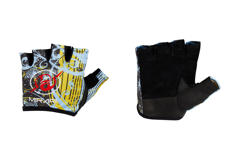 Fitness Gloves; Graphics, Baby Blue Yellow Leather