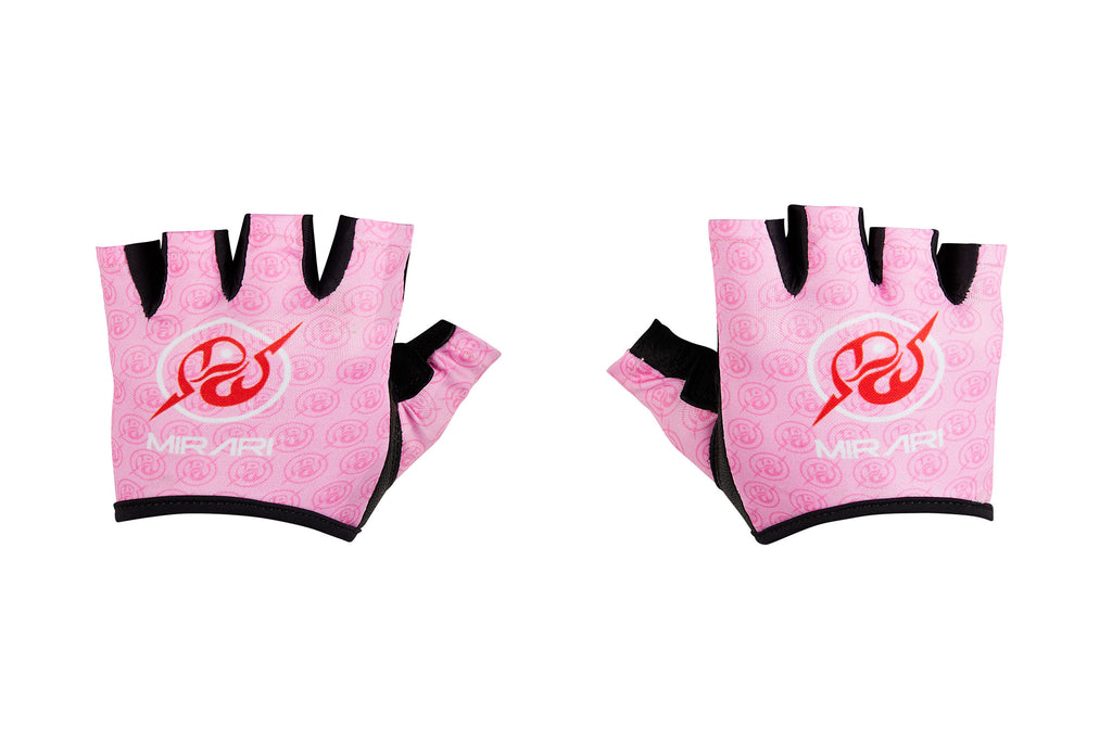 Fitness Gloves; Repeating Emblem; Pink Leather
