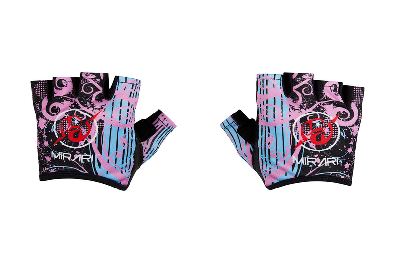 Fitness Gloves; Graphics; Pink Baby Blue Leather