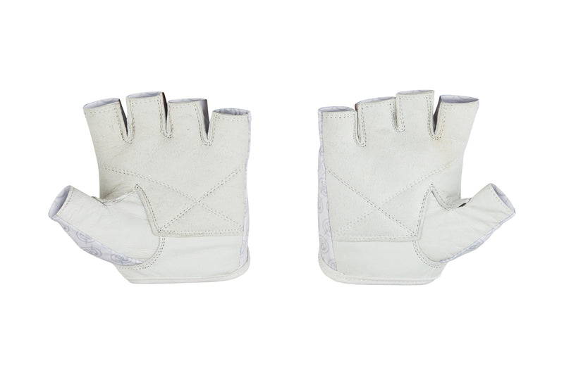 Fitness Gloves; Repeating Emblem, White Leather